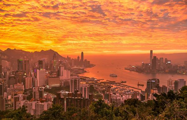 Fire Skies Above Hong Kong
