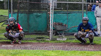 25-07-2020: Honkbal: Quick Amersfoort v HCAW: Amersfoort Openingswedstrijd Hoofdklasse (L-R) Catchers Jules Cremer of Quick , Rodney Daal of HCAW