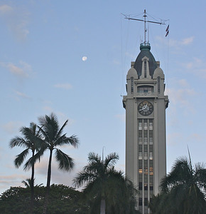 Aloha Tower and 98% Moon