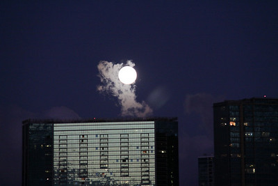 Full Moon over Ala Moana Building