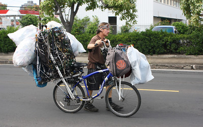 Bicyclist with Bottles and Cans
