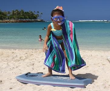 Will she snorkel or ride the boogie board?