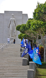 Stairway Lined with State Flags