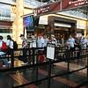 Going through security at Reagan National Airport.