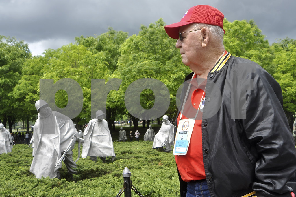 -Messenger photo by Chad Thompson<br /> <br /> Leo Staton, of Sac City, and a Korean War veteran observes the Korean War Veterans Memorial in Washington, D.C. Saturday afternoon. Staton was a U.S. Army paratrooper.