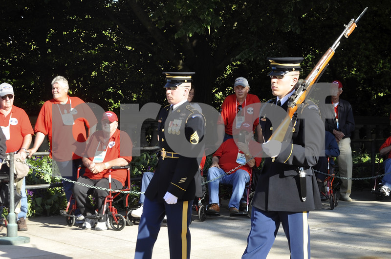 -Messenger photo by Chad Thompson<br /> <br /> Veterans look on during the Changing of the Guard at Arlington National Cemetery in Washington, D.C. Saturday. Those in attendance are asked to remain silent during the ceremony.