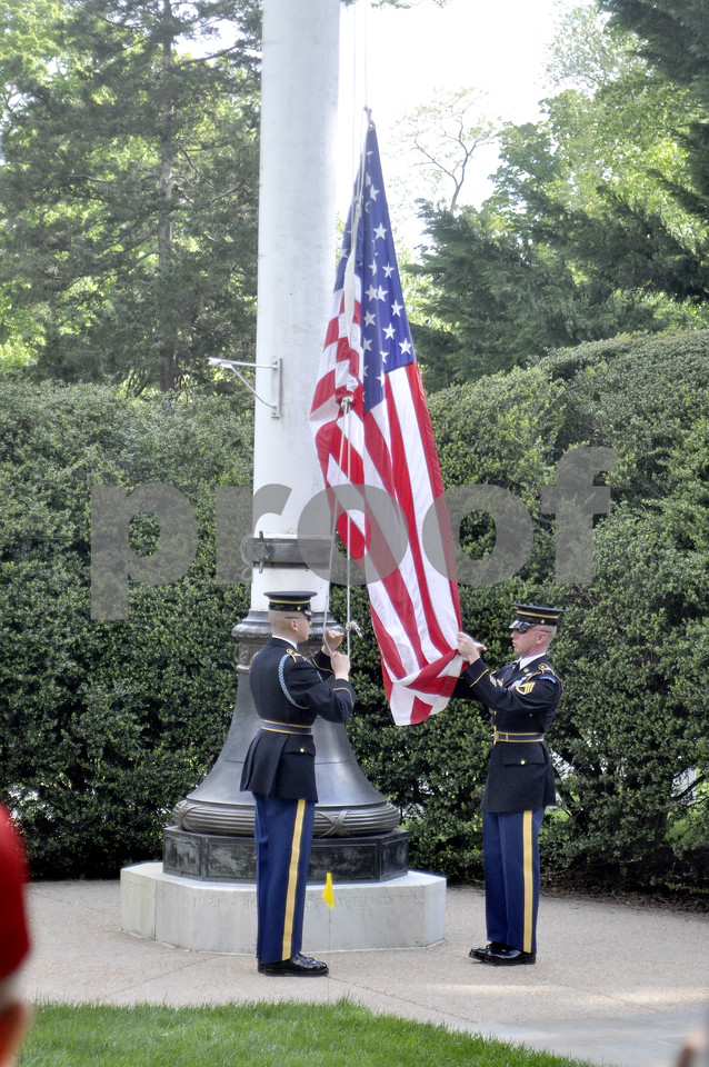-Messenger photo by Chad Thompson<br /> <br /> Veterans witnessed the Lowering of the Flag at Arlington National Cemetery in Washington, D.C. Saturday.