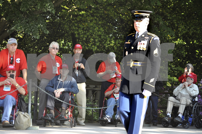 -Messenger photo by Chad Thompson<br /> <br /> The relief commander begins to march during the Changing of the Guard ceremony in Washington, D.C. Saturday.