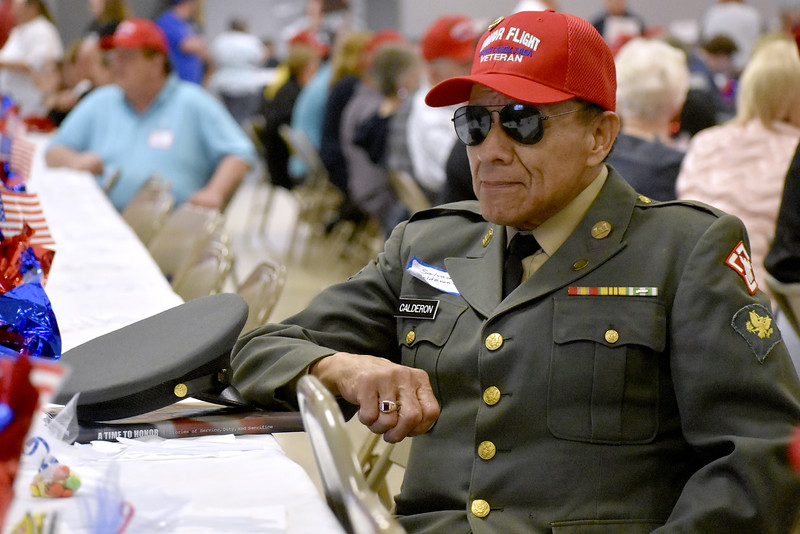 -Messenger photo by Chad Thompson<br /> <br /> Salvador Calderon Jr., a U.S. Army veteran from Eagle Grove, looks on during the 16th Brushy Creek Area Honor Flight banquet at the Webster County Fairgrounds Wednesday night.