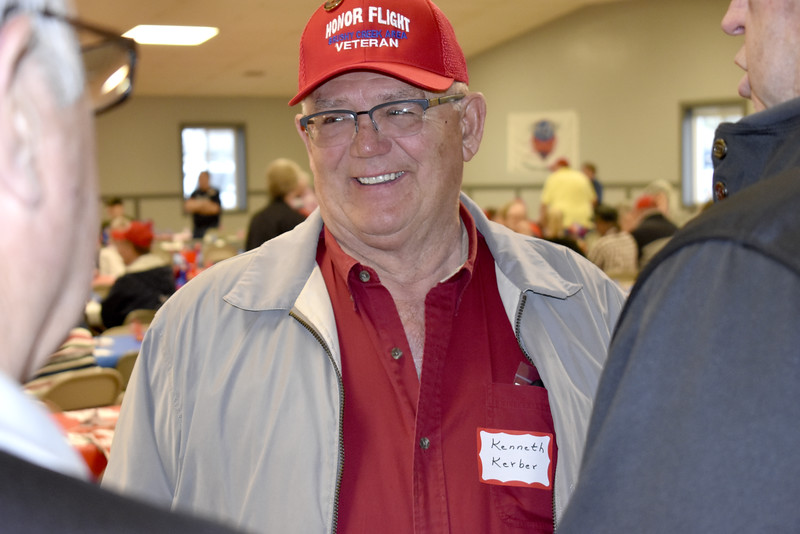 -Messenger photo by Chad Thompson<br /> <br /> Kenneth Keber, a U.S. Air Force veteran from Emmetsburg, is all smiles as he visits with fellow veterans at the Webster County Fairgrounds Wednesday night.
