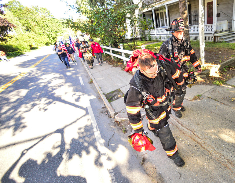 firefighters walked 3.43 miles in Bellows Falls on Saturday, Sept. 12, 2020, to honor the 343 firefighters who died during the 9/11 terrorist attacks.