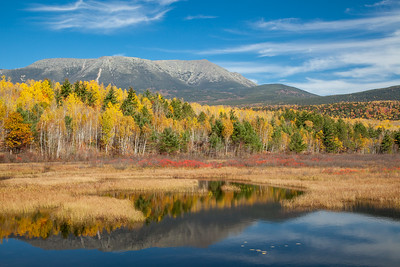 Mt. Katahdin behind Abol Stream, Baxter State Park, Maine.  This photo is the cover of the Baxter State Park 2019 Calendar.
