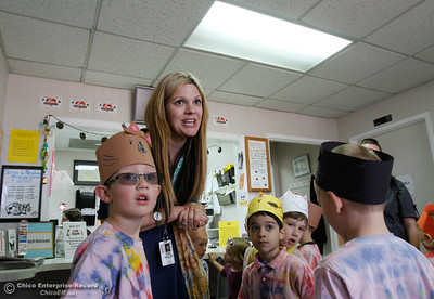 Monica Brown leads a group of Hooker Oak kindergartens as the visit the  Butte Humane Society Cat Adoption Center to practice reading to cats March 22, 2016 in Chico, Calif. (Emily Bertolino -- Enterprise-Record)