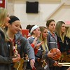 CAROLINE BONNIVIER SNYDER — THE BERKSHIRE EAGLE<br /> Honorees representing each of the championship girls teams on the new banners line up before the start of the Hoosac Drury girls basketball game.