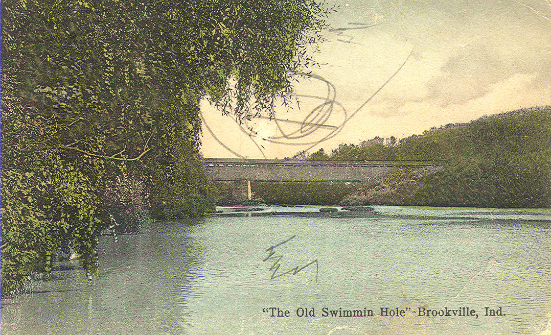 Old Postcard of a covered bridge in Brookville, Indiana.  Postmarked 1912.