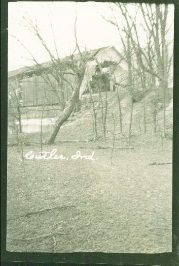 Cutler Covered Bridge, Cutler, Indiana.  This is a postcard photo.  Bridge is no longer standing.