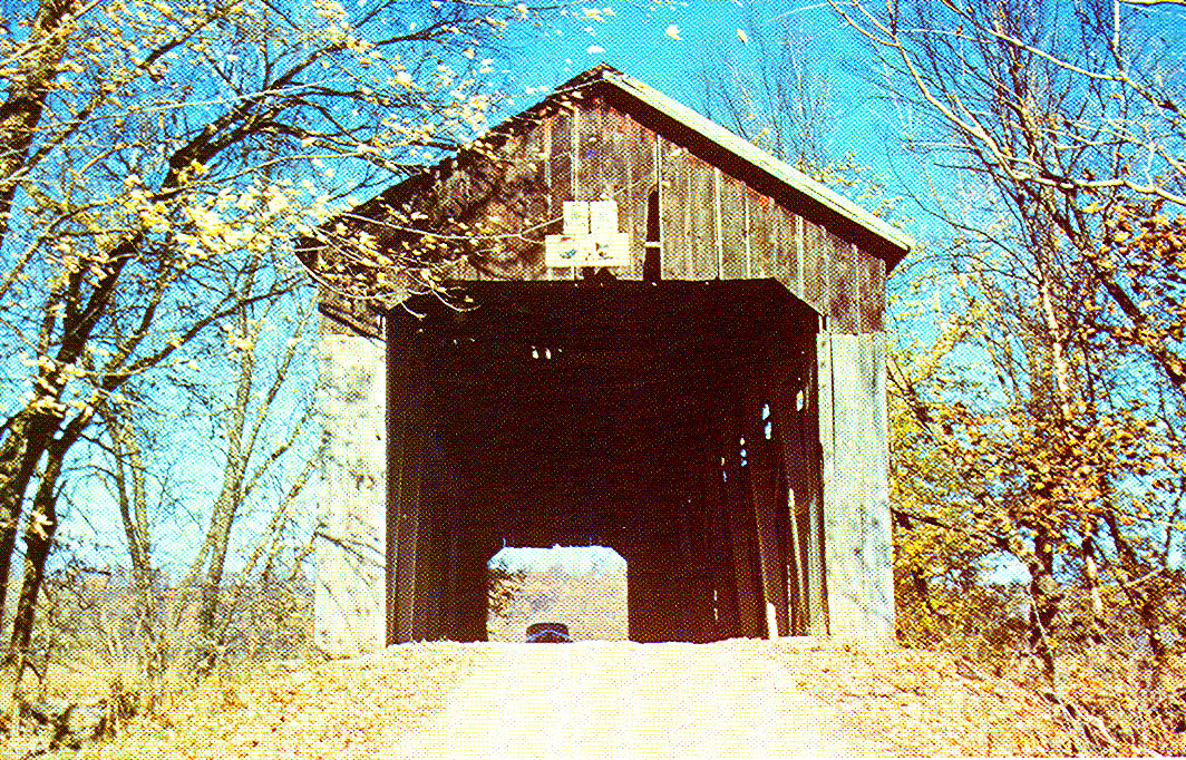 Cutwright Covered Bridge, Monroe County, Indiana.  This bridge was accidentally destroyed by a welder torch in 1963