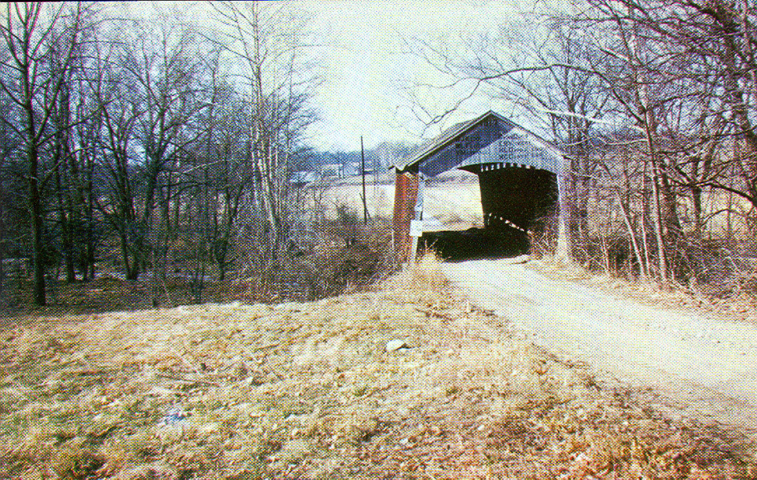 Dooley Station Covered Bridge, Parke County, Indiana.  Bridge was destroyed in a fire in 1960.  Portland Mills Covered Bridge was moved and now stands at this location.