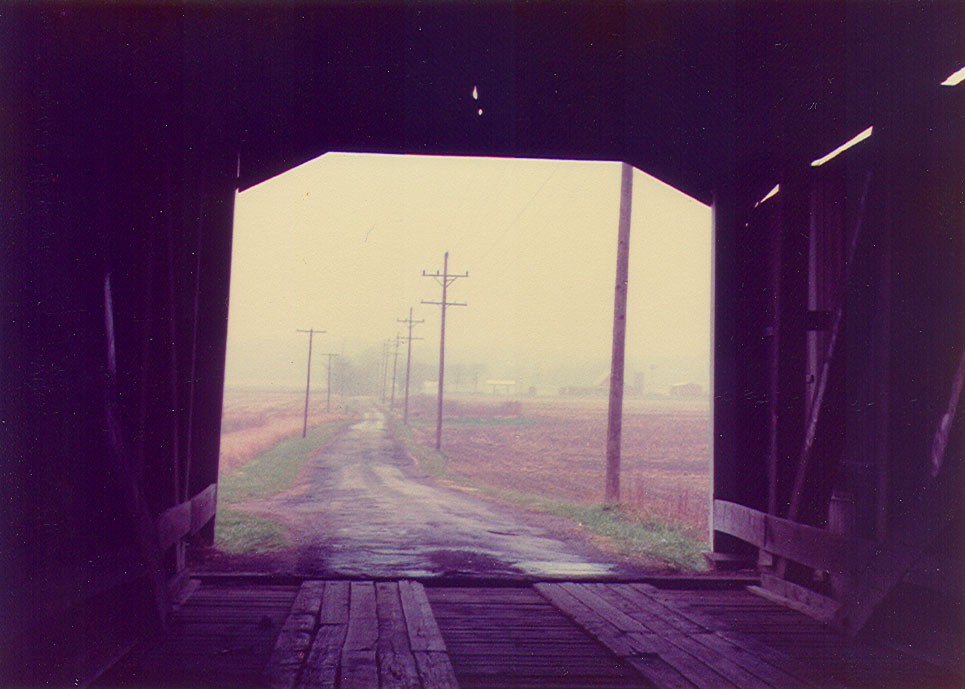 Looking north from the Jeffries Ford Covered Bridge, Parke County, Indiana.  This photo is from 1984.