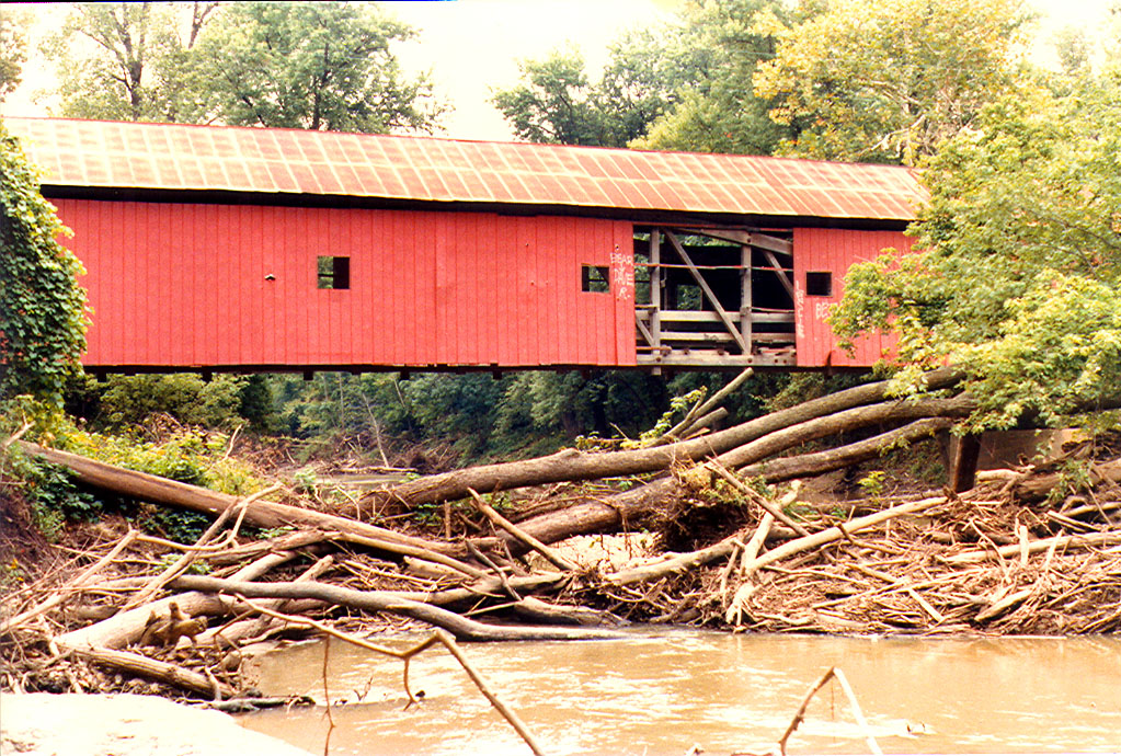 South Hill Covered Bridge, Vermillion County, Indiana.  Photographed in September 1982.  Bridge at that time was bypassed and in deteriorating condition.