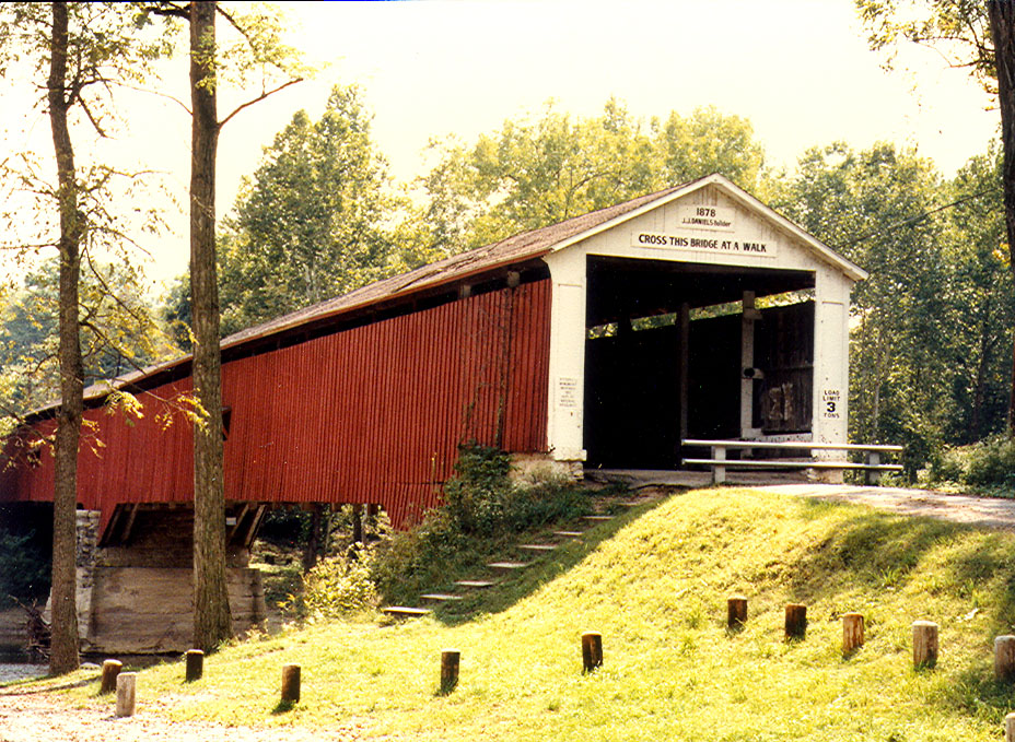Deers Mill Covered Bridge, Montgomery County, Indiana.  Photographed in July1982.