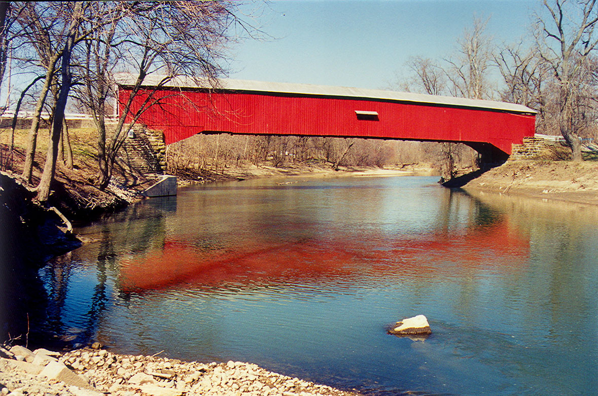 Eugene Covered Bridge, Vermillion County, Indiana.  Photographed in March 1999.