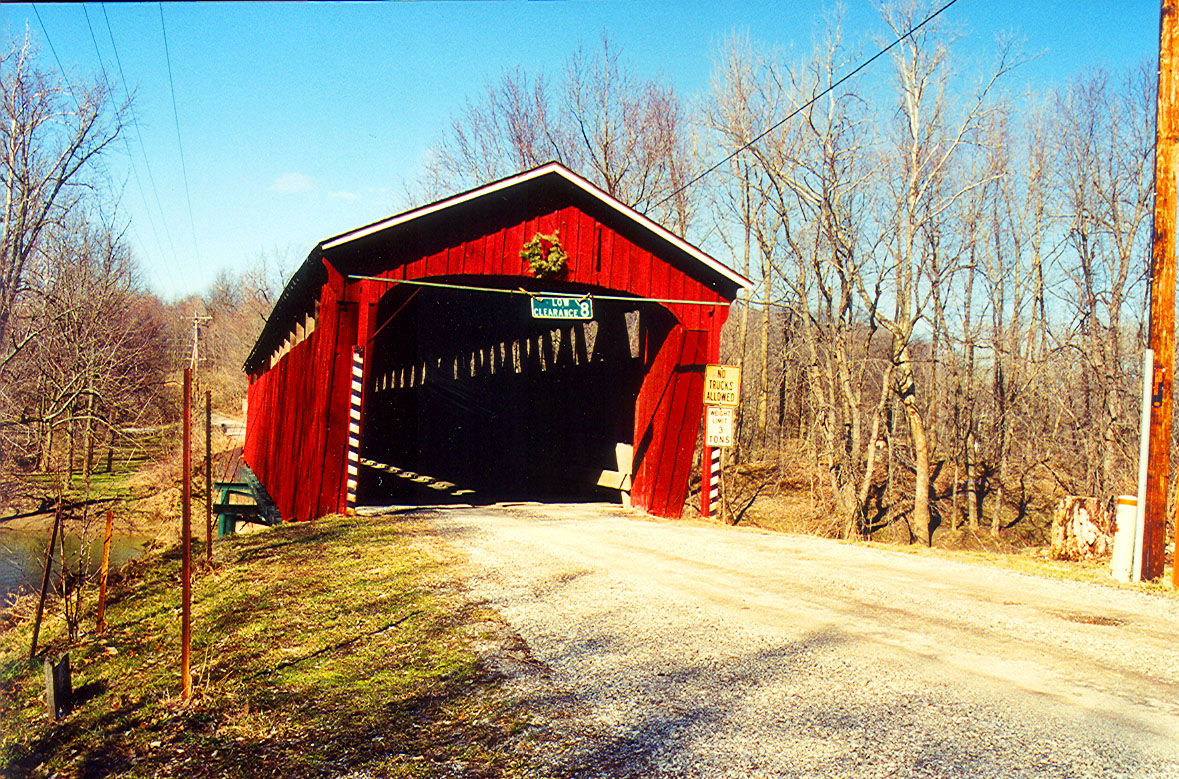 Lancaster Covered Bridge, Carroll County, Indiana.  Photographed March 1999,