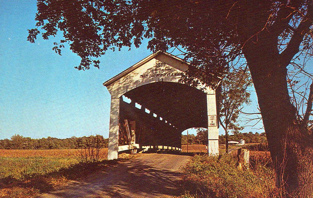 Leatherwood Station Bridge, Parke County, Indiana.  This postcard photo shows bridge at original location near Bloomingdale.  Crossed Bloomingdale Creek.