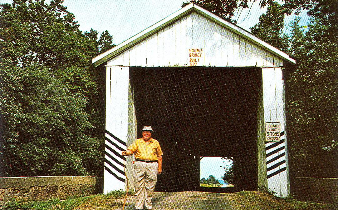 Moore Covered Bridge, Gibson County, Indiana.  Postcard photo.