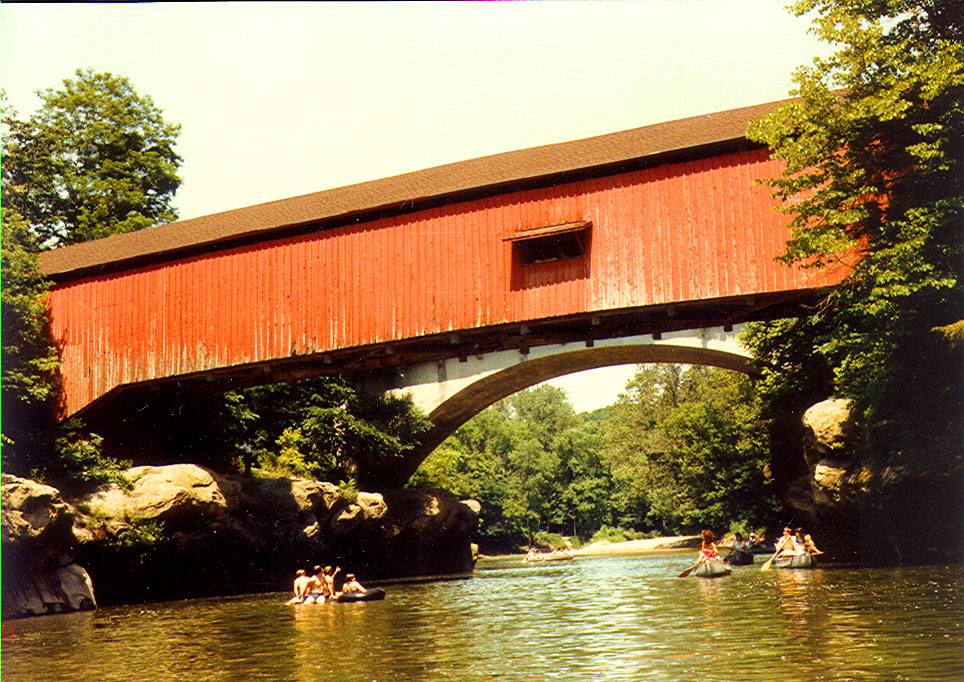 Narrow's Covered Bridge, Parke County, Indiana.  Photographed in June 1983.