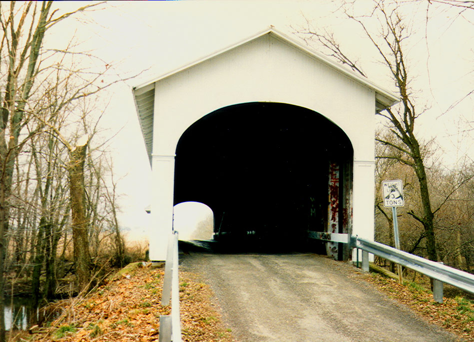Norris Ford Covered Bridge, Rush County, Indiana.  Photographed in 1992.