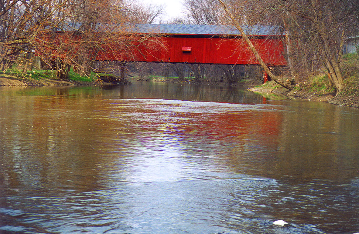 North Manchester Covered Bridge, Wabash County, Indiana.  Photographed in April 1999.