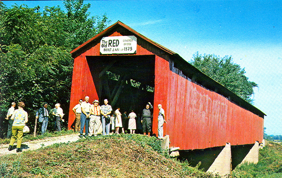 Old Red Covered Bridge.  Postcard photo.