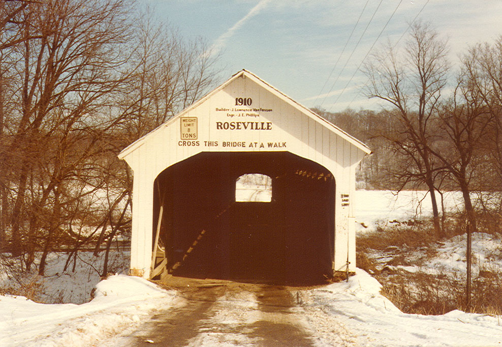 Roseville Covered Bridge, Parke County, Indiana. Photographed in winter 1981.