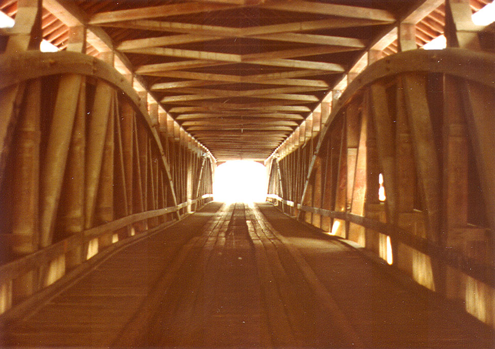 Interior of the Roseville Covered Bridge, Parke County, Indiana.