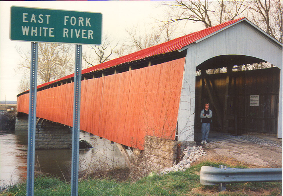 Shieldstown Covered Bridge, Jackson County, Indiana.  Photographed in 1989.