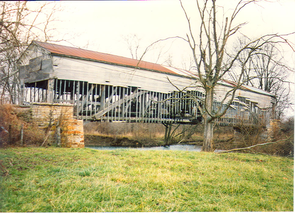 Smith Covered Bridge, Rush County, Indiana.  Photographed from 1992 prior to restoration.
