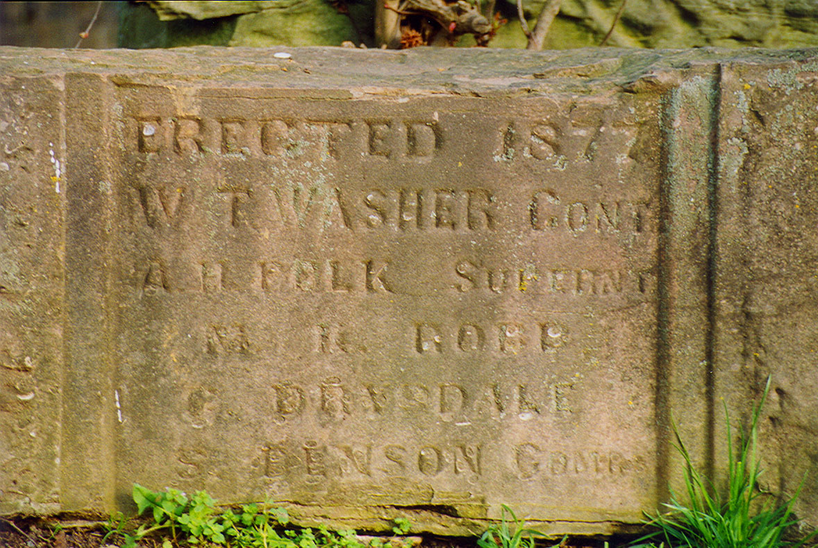 Stone Marker at Wheeling Covered Bridge.