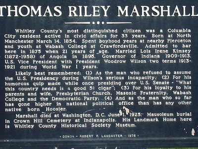 Thomas Riley Marshall Historical Marker on the Courthouse Square in Columbia City, Indiana.