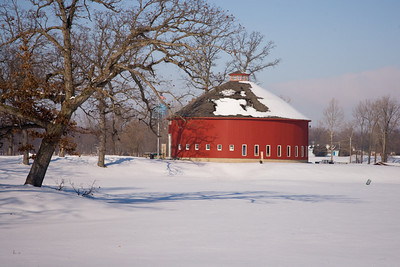Roundbarn located at a park/golfcourse in Rochester, Indiana.  January 2010.