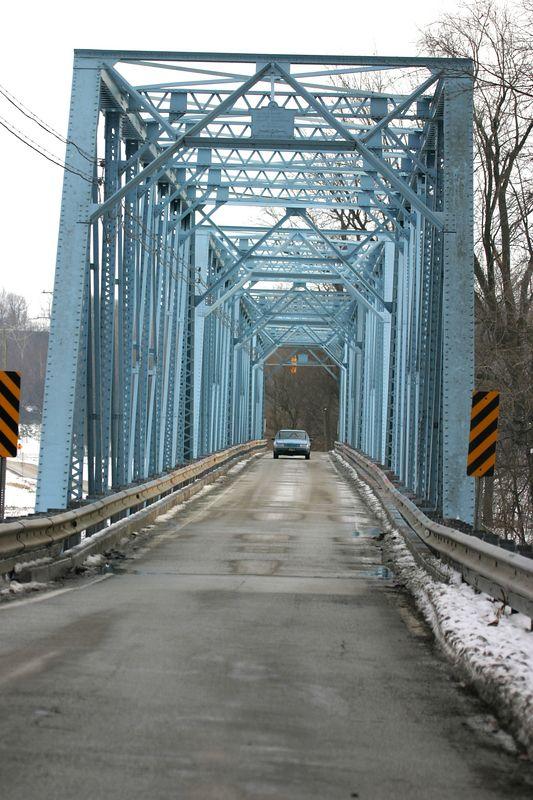 One lane bridge over the Wabash River at Battleground, Indiana.