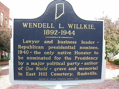 This marker stands in downtown Rushville, Indiana.