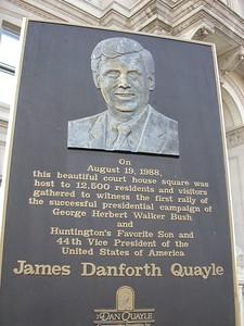Dan Qualye Historical Marker, Huntington, Indiana.