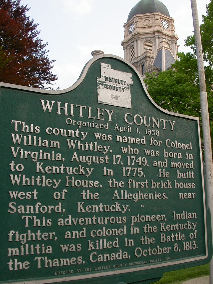 Whitley County, Columbia City, Indiana.  County Courthouse in background.