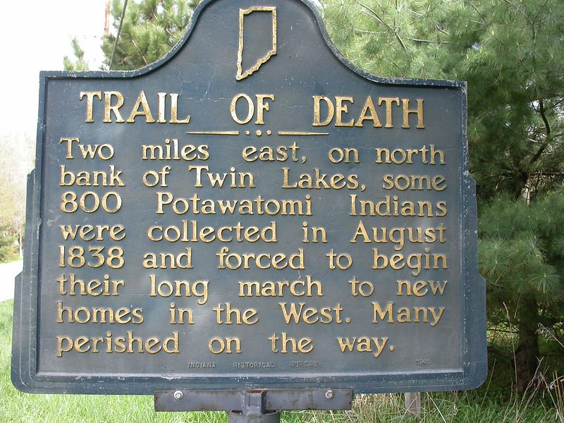 Trail of Death Historical Marker west of Plymouth, Indiana.
