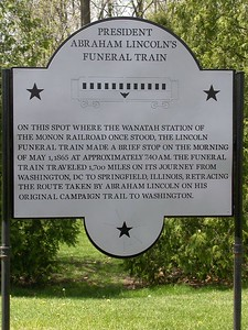 Lincoln's Funeral Train Historical Marker.  Wanatah, Indiana.