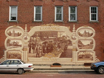Mural on building at LaGrange County Courthouse Square.
