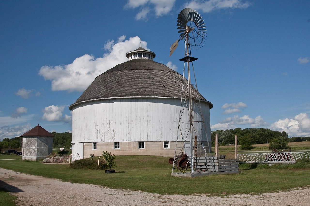Fulton County Roundbarn.  Located at the county museum on 31 north of Rochester.  Photographed Sept 2009.