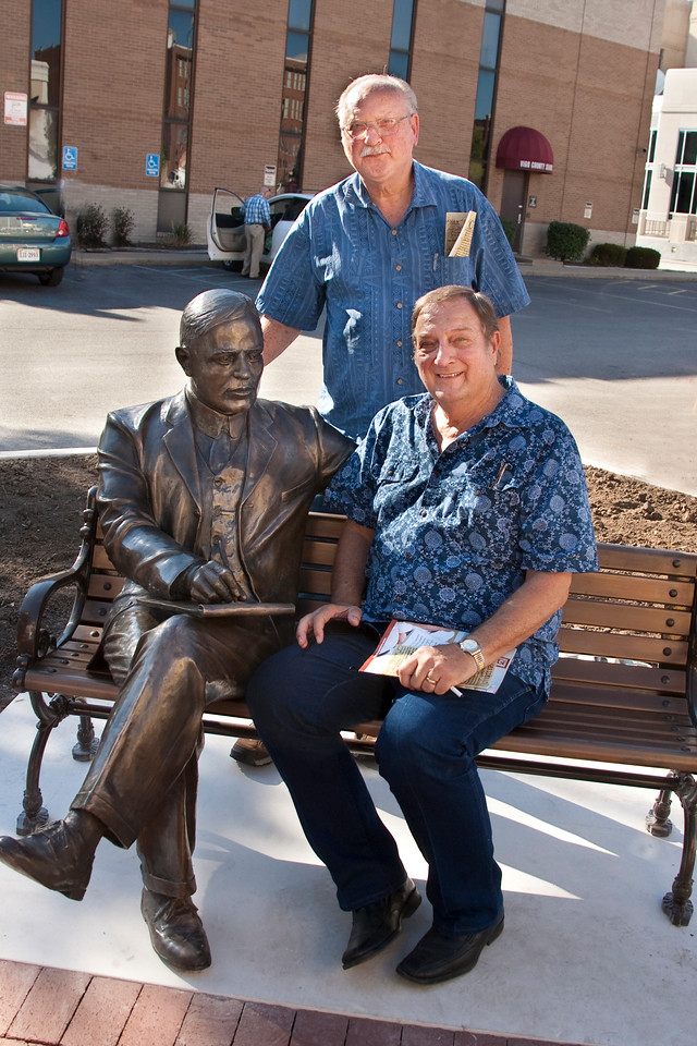 Monty Jones and Alex Kosarko at the Max Ehrmann dedication, 7th and Wabash Avenue, Terre Haute, Indiana.  August 26, 2010.