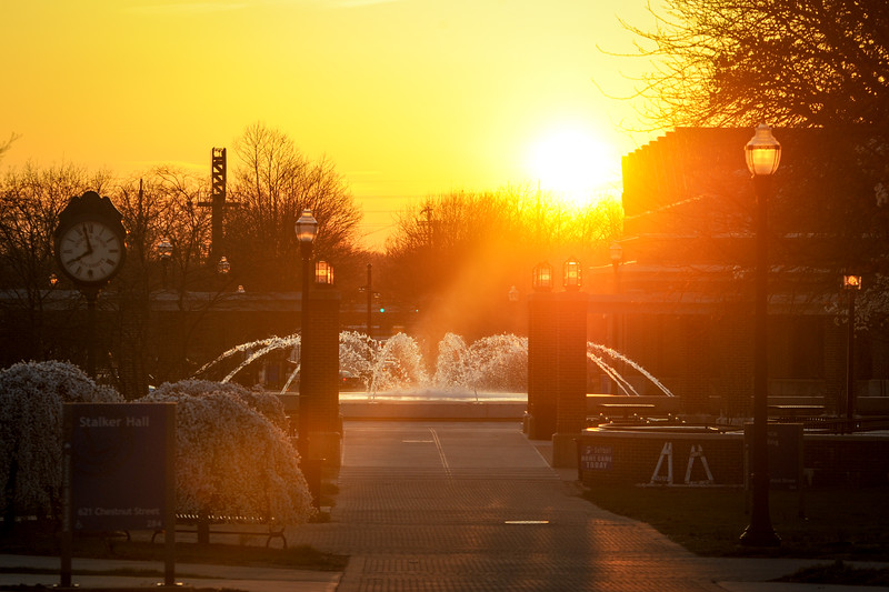 Sunset over ISU Fountain  Terre Haute, Vigo County